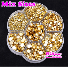 Hot sale !2480pcs Gold Mixed Size With Box Packing 2mm~8mm Imitation Half Round Flatback Pearls For DIY Fashion Decoration B2046