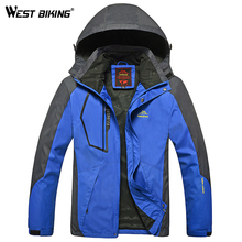 WEST BIKING Men Winter Waterproof Windproof Hooded Jacket Outdoor Sport Warm Large Size Hiking Cycling Mountain Climbing Jacket(China)