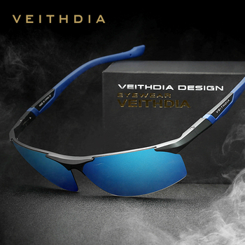 VEITHDIA Aluminum Magnesium Men's Sunglasses Polarized Blue Coating Mirror Sun Glasses oculos Male Eyewear Accessories Men 6589