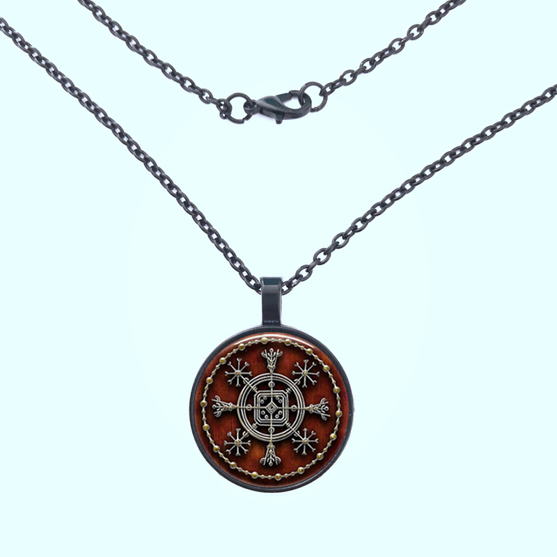 Icelandic Helm of Disguise Sigil Photo Glass Dome Necklace Pendant Gift