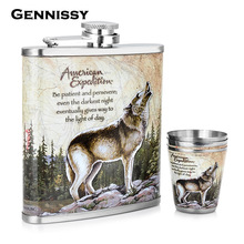 GENNISSY Wolf and Forest Pattern Mini Alcohol Bottle 7oz Metal Bar and Outdoor Sports Dedicated Stainless Steel Hip Flask Set
