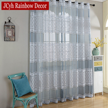 Luxury Sheer Tulle Curtains For Living Room Bedroom Blue Kitchen Door Curtains For Window String Voile Curtain Fabrics Drapes(China)