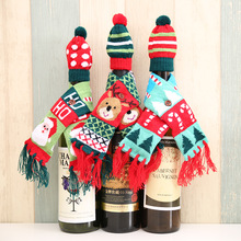 New Christmas red wine bottle decoration Santa deer tree Knitted Scarf Hat Set Christmas party decorations For the family(China)