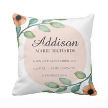 Custom Watercolor Floral Baby Birth Stats Announcement Throw Pillow Cover Decorative Cushion Covers for Sofa Square Pillow Case