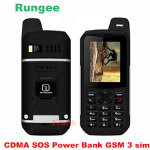 Original Rungee x1 CDMA SOS Power Bank GSM Senior old man IP68 Waterproof phone shockproof cell phone three 3 sim somin DG22 s6
