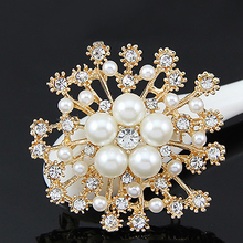 Charming Rhinestone Imitation Pearl Flower Brooches For Women Hijab Scarf Sweater Broches Coat Dress Pin Wedding Jewelry Bijoux(China)