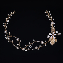 Gold Color Leaf Hair Vine Star Crystal Headpiece Rhinestone Head band Wedding Bridal Hair Bands Women Pageant Hair Jewelry