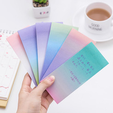 long cute gradient colorful memo pad sticky note post it purple green stationery & office paper sticker for student message(China)