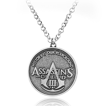 SG Fashion Game Jewelry Assassin's Creed 3 Round Family Symbol Charm Necklace Pendant For Gift(China)