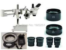 Free Shipping,3.5X-180X Boom Stand Stereo zoom microscope+144 Pins LED ringlight for Electronics/Repairing/engraving