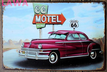 1pc Route 66 antique car Plaques motel vintage Tin plate commercial tin Sign wall Decoration garage room retro Poster man cave
