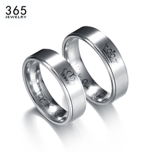 2017 New Trendy Stainless Steel Crown Lover Rings Drawing Silver Color Letter Wedding Couple Ring Engagement Gift(China)