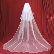 Simply Long Bridal Veil Charming White 2 Layers Cathedral Wedding Veil Wedding Accessories veu de noiva longo