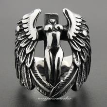 316L Stainless Steel Wing Angel Ring Cross Protection Art Mens Biker Rock Punk Ring 6M001