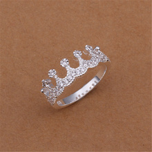 Factory Direct  silver plated  jewelry Korean exquisite fashion glamor woman Crystal Crown Ring R254