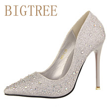 2017 New Fashion Sexy Women Silver Rhinestone Wedding Shoes Platform Pumps Red Bottom High Heels Crystal Shoes Gold Black Pink(China)
