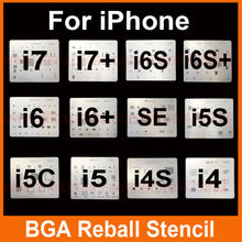 12pcs/lot IC Chip BGA Reballing Stencil Kits Set Solder template for iphone 4 4s 5 5C 5s 6 6s 7 Plus ES iPad high quality(China)