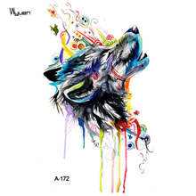WYUEN Wolf Temporary Watercolor Tattoo Sticker Waterproof Women Fashion Fake Body Art Arm Tattoos 9.8X6cm Kids Hand Tatoo A-172(China)
