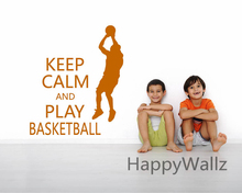 Motivational Keep Calm Play Basketball Quote Wall Sticker DIY Keep Calm Wall Decal Lettering Wall Sticker Hot Sale Free Shipping(China)
