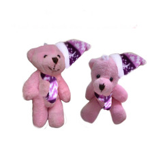 2pcs/lot, H=8cm, W=10G,pink color,  Plush Christmas joint bear with Christmas hat, Christmas tree pendent, Stuffed teddy bear, t