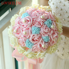Buy Buque De Noiva 2017 Romantic Holding Flowers Sweet Rose Pearls Birdal Bouquet Wedding Bouquets Bridesmaids Flower for $21.00 in AliExpress store