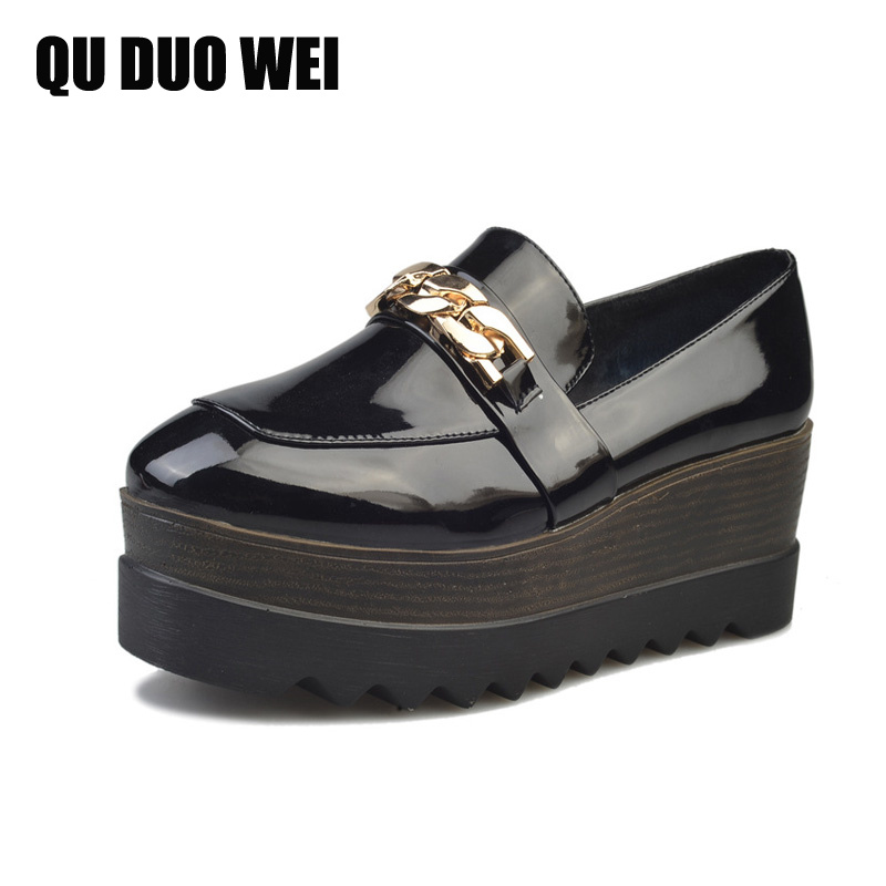 Spring Ladies Creepers 2017 New Metal Loafers Flat Platform Oxfords Shoes Woman Slip On Flats Casual Women Brogue Shoes<br><br>Aliexpress