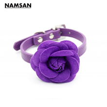 Namsan Austrian Crystal Buckle Rivet Fashion Pet Collar PU Leather 3D Roses Dog Pet Supplies Candy Color Pet Necklaces(China)