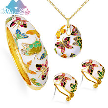 Miss Lady Luxury Wedding Bridal Jewelry Sets Enamel Butterfly Insect For Women Pendant Necklace Earrings Bangles MLYT3704(China)