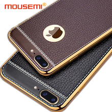 Luxury Plating TPU Silicone Mobile Phone Case For iPhone 6 6s 7 plus Plating Frame Leather Cover Cases For iPhone 5 6 7 5S SE 6s(China)