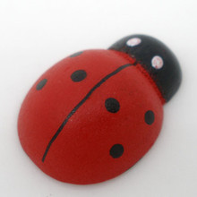 500Pcs Painted Ladybug Wood Ornament Charms Wooden Scrapbook Embelishment Crafts Making 19x13mm(China)