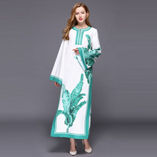 Loose Fashion Dresses 2017 Autumn Winter Ladies Casual Topshop White Leaf Print Split Brief Vestido Long Sleeve Long Dress