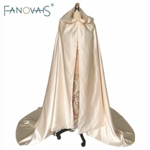 Champagne Floor Length Wedding Cloak Simple Satin Bridal Hooded Cape Winter Wedding Jacket 2017 Cheap Wedding Accessories