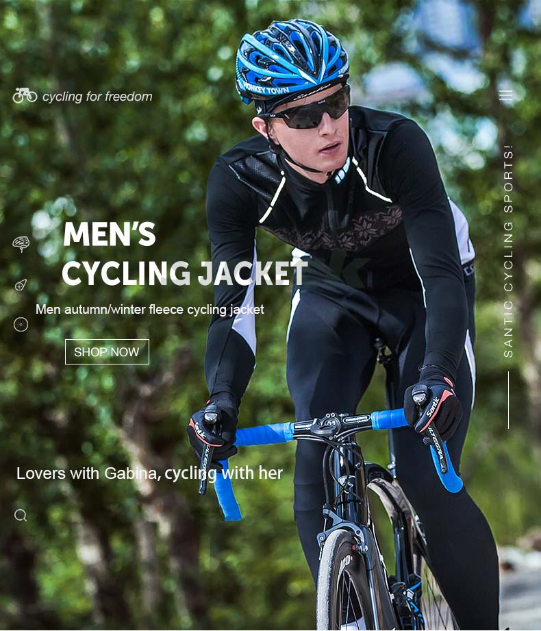 Men Winter Cycling Jacket Cotton Bike Jackets Thickening Jerseys Fleece Santic