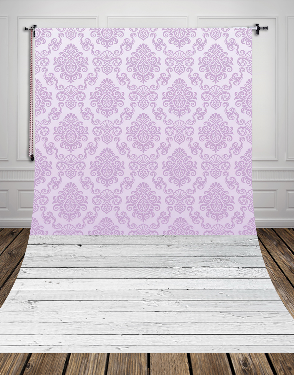 5x10ft(1.5x3m) light-colored wallpaper studio photo background made of  Art fabric printed with white floor for newborn D-9731<br>
