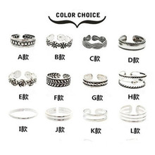 Celebrity Fashion Simple Sliver Plated Retro Carved Flower Toe Ring Foot Jewelry