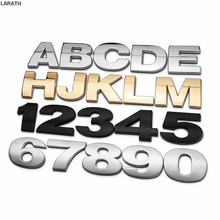 1pc 40mm Gold Silver Letters Numbers Metal Styling Car Emblem Badge 3D Car Stickers Refitting Decal Customize Home Decorations