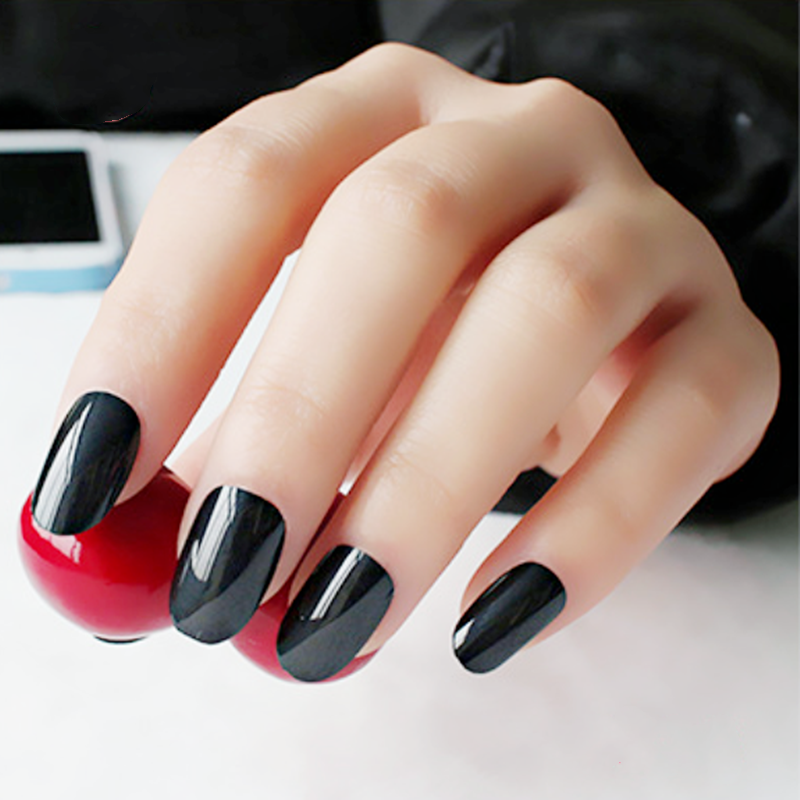 24pcs Glossy Black Oval Short Fake Nails Kawaii Clear Rounded False Nail  Girls Press On Nails Medium Faux Ongle