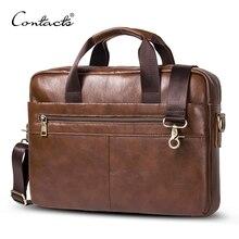 "CONTACT'S 2017 Business Genuine Leather Men Briefcase Cowhide Men's Messenger Bags 14"" Laptop Business Bag Luxury Lawyer Handbag"