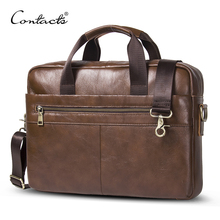 "CONTACT'S 2017 Business Genuine Leather Men Briefcase Cowhide Men's Messenger Bags 14"" Laptop Business Bag Luxury Lawyer Handbag(China)"
