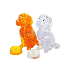 3D Crystal Puzzle Dog DIY Jigsaw Miniature Assembly Model Gift Home Decoration(China)