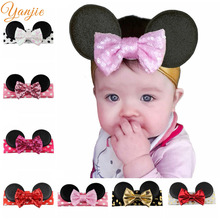 Infantile Girls Minnie Ears Headband 2017 Mini Sequin Messy Bow Hair Band For Kids Winter Metallic Headband Hair Accessories(China)