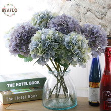 1PC Luxury Artificial Hydrangea Flower with Flower Rod DIY Silk Accessory for Party Home Wedding Decoration blue out of stock(China)