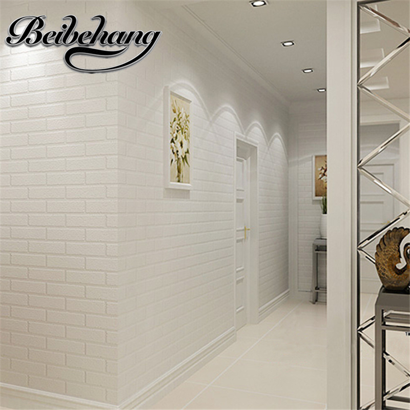 beibehang High quality 3D concavity in the Mediterranean pure white brick wallpaper clothing shop barber stereo brick wallpaper<br>
