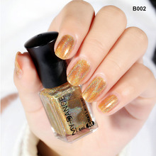 MYDANCE 6ml Holographic Laser Nail Glitters Polish Orange Shining Tip B002 Lacquer Varnish 1 bottle/lot NEW(China)