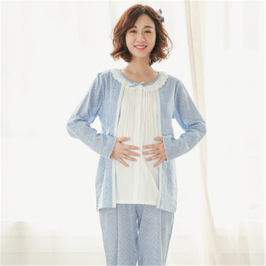 Summer Breastfeeding Maternity Pajamas For Pregnant Women Long Sleeve Fashion Dot Cotton Casual Maternity Clothes 50M0023<br>