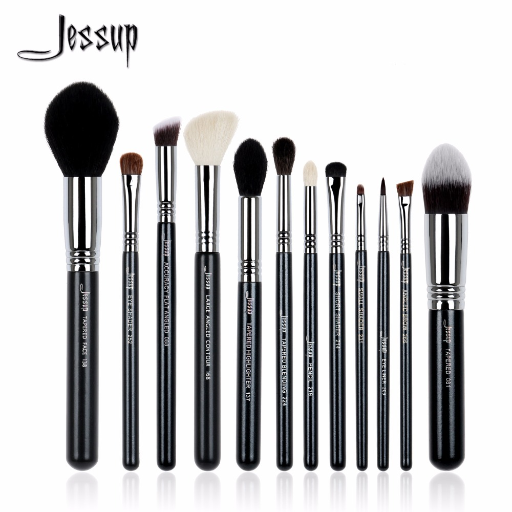 Jessup brushes 12Pcs Makeup Brush Set Kabuki Foundation Contour EyeShader Blend  Brow Powder Makeup  Brushes Tool T128<br>