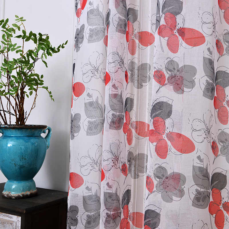 2018 soft fabric sheer tulle curtains for bedroom red flower window Curtains for Living Room kitchen curtains tulles sheers 1pc