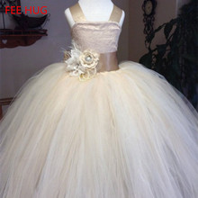 High Quality Princess Girls Wedding Dress 2017 Champagne Butterfly Voile Lace Ball Gown Brithday Party Dress Bride Dress Cloth