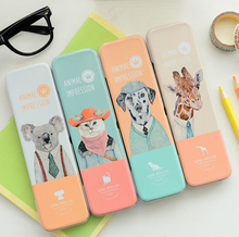 1Box Novelty Animal Impressions Tin Pencil Box Desktop Storage Box Tin Pencil Case School Office Supply Gift Stationery H1476
