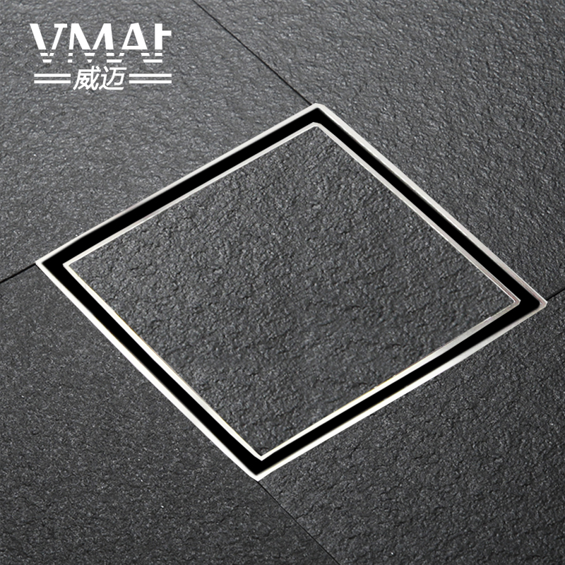 All copper invisible floor drain, toilet, square floor drain, shower room, Yang Tai station displacement, floor drain<br>